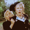 "matahari: Clairee and Ouiser from the ""Steel Magnolias"" movie. Clairee hides behind Ouiser. Both look horrified. (clairee)"