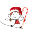cloud_riven: Stick-man styled Apollo Justice wearing a Santa hat, and also holding a giant candy cane staff. (... ... ... Eh?)