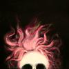 groke: pink mane on a skull (hair)