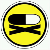 somekindoflight: Poison's symbol, a pill with an x below it in black and white on a yellow background. (Poison)