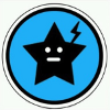 somekindoflight: Jet's symbol, a star with a face and a lightening bolt rising from its left side done in black and white on a blue backg (Jet)
