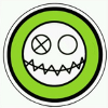 somekindoflight: Ghoul's symbol, a smiley face with one eye crossed out and a jagged mouth, done in black and white on a green background (Ghoul)
