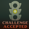 """outlineofash: A yellow stoplight with text underneath reading """"Challenge accepted."""" (Text - Challenge Accepted)"""