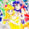 wundagore: Sailor Venus and Sailor Mars in their princess dresses, clasping hands. (sailor moon ☆ love & war)