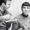 sixbeforelunch: behind the scenes black and white photo of shatner and nimoy (trek - shatner and nimoy)