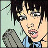 lurrel: A panel from Kill Your Boyfriend -- brunette girl making a distressed face while staring at a gun she is holding (Default)
