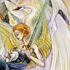 avia: A winged woman holding a cygnet in one hand and a sword in the other, with a swan in the background. (tarot swans)