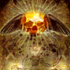 thiefofvoices: stylized art of a sun/skull with black wings behind it (apocaverse)