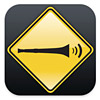 azurelunatic: Vuvuzela emitting sound waves in a black and yellow road sign style icon (noise)