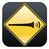 azurelunatic: Vuvuzela emitting sound waves in a black and yellow road sign style icon (vuvuzela, noise)