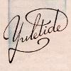"""melannen: The words """"yuletide"""" in fancy script against a blue watercolor wash (yuletide)"""