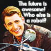 jmtorres: movieverse Steve Rogers with dorky grin. Text: The future is awesome! Who else is a robot? (captain america, awesome, robot?, chris evans, future, steve rogers)