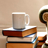 opusculasedfera: stack of books, with a mug of tea on top (Default)