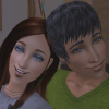 eien_herrison: Danny and Allison, two sims from Angelos Town (a sims Prosperity challenge), cuddling on a couch (Danny & Allison Icon)