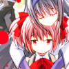 mikogalatea: Homura and Madoka from Madoka Magica. Homura is embracing Madoka from behind. ([MadoMagi] Madoka/Homura)
