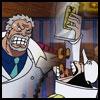 tyger: Garp glaring at Sengoku, who is pouring the last of the senbei into his mouth. (Sengoku & Garp - stolen senbei)