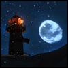 auguris: Screenshot from the videogame The Long Dark. A lighthouse at night, the nearly full moon next to it. (Lonely Lighthouse)