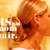 "goodbyebird: Buffy: Close crop of Buffy, ""This is not mom hair."" (BtVS this is not mom hair)"