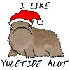 katherine: The Alot (a shaggy brown beast) wearing a santa hat. Words: I LIKE YULETIDE ALOT (yuletide)