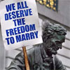 "kshandra: close-up of a statue of Abraham Lincoln, holding a picket sign reading ""We All Deserve The Freedom to Marry"" (LincolnMarry)"