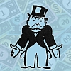 kshandra: Rich Uncle Pennybags, pockets turned out and palms upturned, over a background of Monopoly money (Broke)