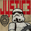 "ahorbinski: an imperial stormtrooper with the word ""justic3"" (imperial justice)"