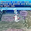 """monsterboy: A screencap from Ar tonelico 2 with the dialogue box, """"Monsters are small lives. Please be gentle and kind to them too."""" (monsters are small lives)"""