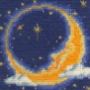 gblvr: photo of needlepoint depicting a crescent moon with a face (Crafty -- There's the moon!)