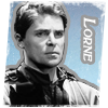 """gblvr: photoshopped black and white image of Evan against blue with the caption """"Lorne"""" (SGA -- Lorne - B&W on blue)"""