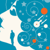 sixbeforelunch: a stylized woman's profile with the enterprise and a star field overlaid (flowers and snow)