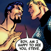 scrollgirl: naked!tony + steve in avengers prime; text: boy, am i happy to see you, steve (ts j/b subtext scrollgirl)