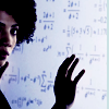 thesisorbust: Astrid, just at the edge of the frame, in front of a whiteboard full of math (fringe - astrid and math)