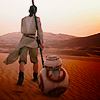 such_heights: rey and bb8 in the desert (sw: rey + bb8)