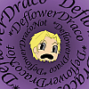 "eevilalice: Draco's illustrated, panicked face surrounded by the swirling words ""deflower Draco"" (HP Deflower Draco)"