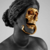 nilchance: original artist hedixant; statue of woman with gold skull (gold skull)