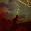 nilchance: original art from a vintage print; art of a woman being struck by lightning (lightning to the brain)