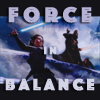 "sathari: Rey and Kylo Ren in their duel on Starkiller Base with the caption ""Force in Balance"" (Rey and Kylo- Force in balance)"