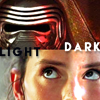 "sathari: split iage of Rey and Kylo with the respective captions ""Light"" and ""Dark"" (Rey and Kylo- Light and Dark)"