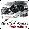 laylah: an illustration from  Through the Looking Glass: a black kitten pawing at a ball of yarn. (the black kitten) (Default)