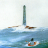 muccamukk: Painting of a very small boat surrounded by big waves, lighthouse in background. (Lights: Little Boat in a Big Sea)