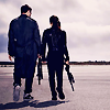 alyse: terminator genisys -full body shot of Sarah and Kyle walking away from the camera (sam/chris snog by keenoled)