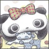 owlectomy: A squashed panda sewing a squashed panda (crafty) (Default)
