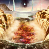juushika: Screen capture of the Farplane from Final Fantasy X: a surreal landscape of waterfalls and flowers. (Anime/Game)