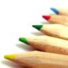 laitaine: 5 coloured wooden pencils in a fan shape (pencils)
