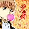 adevyish: Icon of Okita blowing bubblegum (fuusen gum)