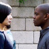 theleaveswant: Doona Bae as Sun Bak and Aml Ameen as Capheus in Sense8; meeting on street (Seoul side) (Sun Capheus Seoul/Nairobi)