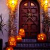 alwayswondered: Glowing Halloween pumpkins on a doorstep. (Halloween)