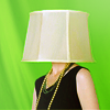 lemonbat: a well-dressed woman wearing a lampshade on her head (icon)