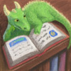 jjhunter: Small dragon on top of bookshelf is posed reading a book (library dragon)