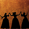 "jesse_the_k: From ""Hamilton"" silhouettes of the Schuyler sisters holding hands high, dancing (HAM 3Schuylers)"